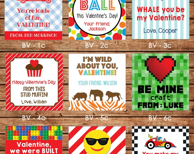 24 Square Personalized Boy Valentine Enclosure Cards, Gift Stickers, Gift Tags