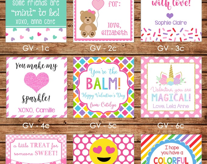 24 Square Personalized Girl Valentine Enclosure Cards, Gift Stickers, Gift Tags