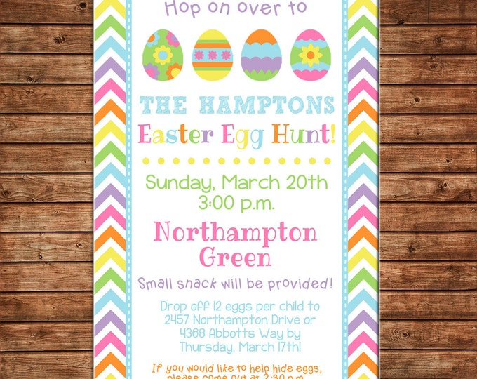 Boy or Girl Invitation Chevron Easter Egg Hunt Bunny Shower Party - Can personalize colors /wording - Printable File or Printed Cards