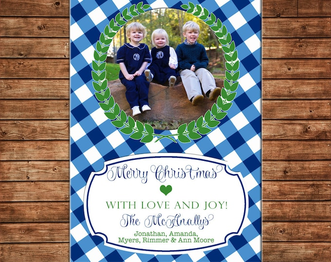 Photo Picture Christmas Holiday Card Buffalo Check Gingham Wreath Elegant Preppy Navy Green - Digital File