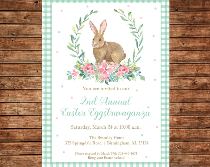 Invitation Watercolor Laurel Bunny Rabbit Easter Egg Hunt Shower Party - Can personalize colors /wording - Printable File or Printed Cards
