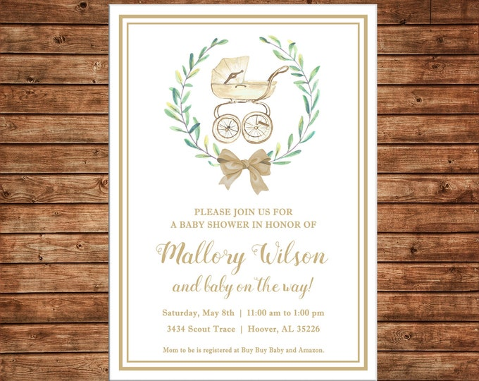 Boy or Girl Invitation Watercolor Wreath Carriage Shower Gender Neutral - Can personalize colors /wording - Printable File or Printed Cards