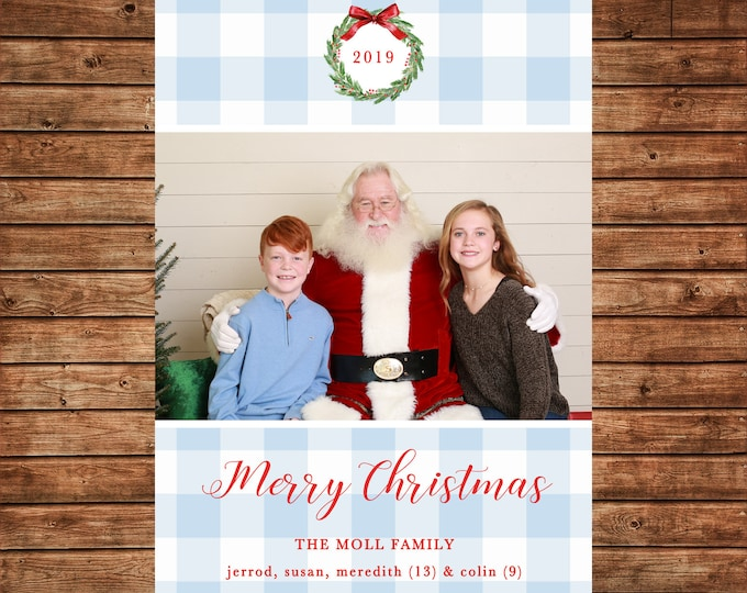 Christmas Holiday Photo Card Gingham Watercolor Wreath Monogram - Can Personalize - Printable File