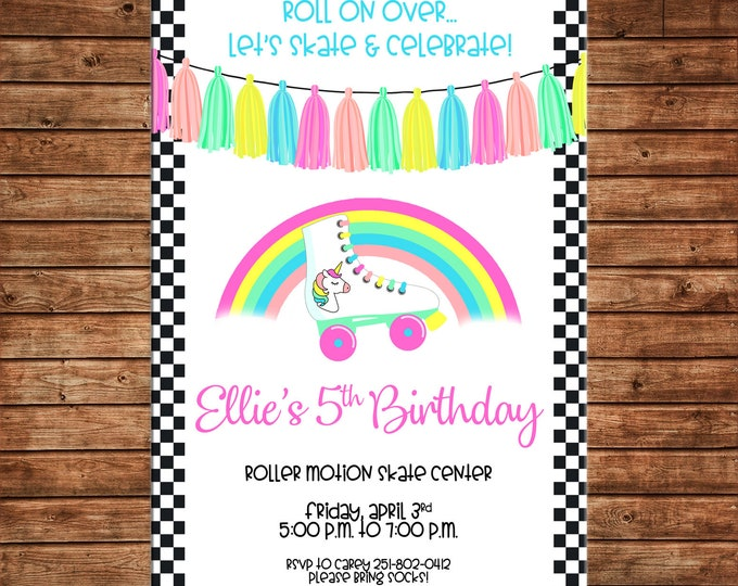 Girl Invitation Roller Skating Rollerskating Unicorn Birthday Party - Can personalize colors /wording - Printable File or Printed Cards
