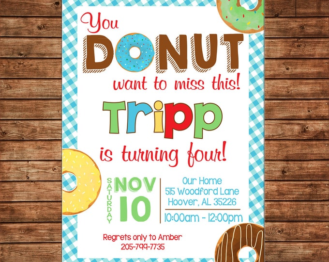 Boy Invitation Donut Donuts Sprinkles Birthday Party - Can personalize colors /wording - Printable File or Printed Cards