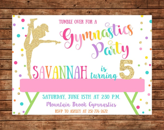 Girl Invitation Gymnastics Gym Glitter Birthday Party - Can personalize colors /wording - Printable File or Printed Cards
