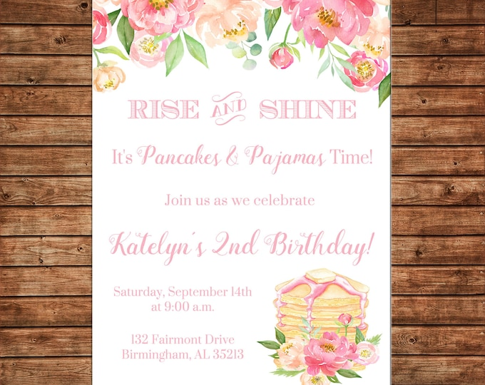 Girl Invitation Watercolor Pancakes Pajamas Birthday Party - Can personalize colors /wording - Printable File or Printed Cards