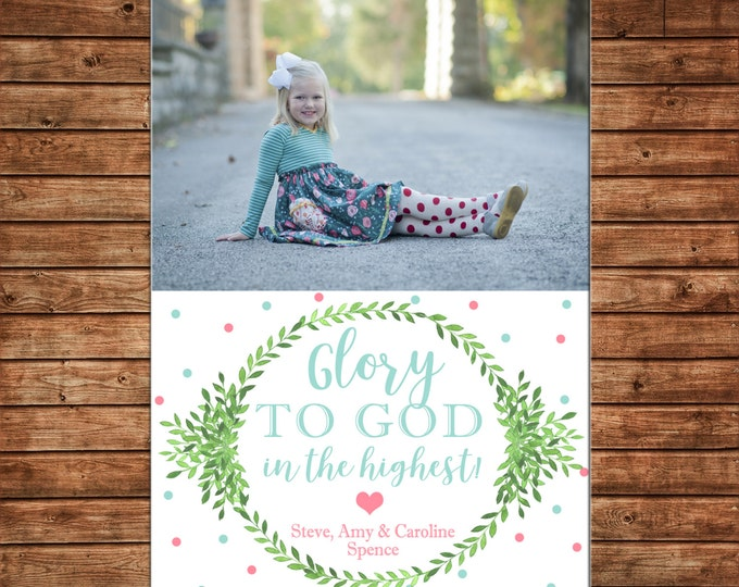 Christmas Holiday Photo Card Watercolor Greenery Wreath - Can Personalize - Printable File
