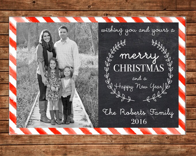 Christmas Holiday Photo Card Watercolor Stripe Chalkboard - Can Personalize - Printable File or Printed Cards