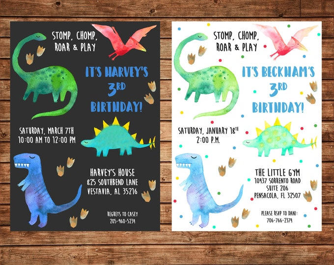 Boy Invitation Watercolor Dinosaur Dino Birthday Party - Can personalize colors /wording - Printable File or Printed Cards