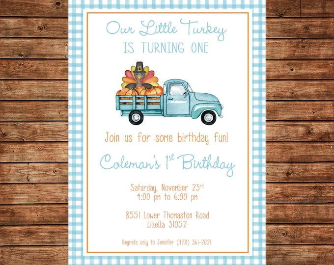 Boy or Girl Invitation Little Turkey Thanksgiving Shower Birthday Party - Can personalize colors /wording - Printable File or Printed Cards