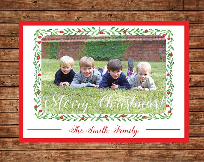 Christmas Holiday Photo Card Red Green Watercolor Wreath - Can Personalize - Printable File or Printed Cards