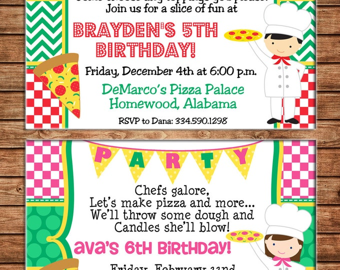 Boy or Girl Invitation Pizza Party Cafe Birthday Party - Can personalize colors /wording - Printable File or Printed Cards