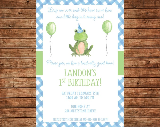 Boy Invitation Watercolor Frog Toad Birthday Party - Can personalize colors /wording - Printable File or Printed Cards
