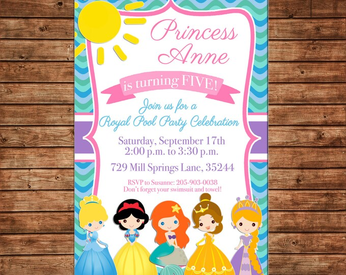 Girl Invitation Princess Pool Party Birthday Party - Can personalize colors /wording - Printable File or Printed Cards