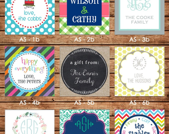 24 Square Personalized Family Sibling Boy Girl Enclosure Cards, Gift Stickers, Gift Tags