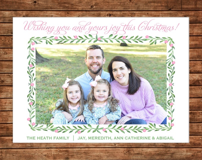 Christmas Holiday Photo Card Pink Green Watercolor Wreath - Can Personalize - Printable File