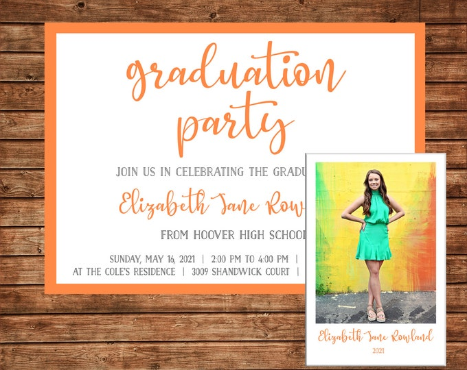 Boy or Girl Invitation Graduation Party Announcement with Photo - Can personalize colors /wording - Printable File or Printed Cards
