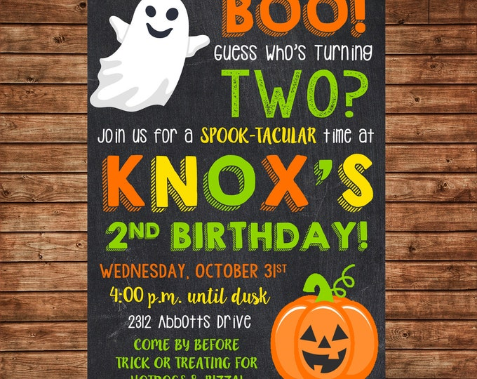 Boy or Girl Invitation Pumpkin Ghost Boo Birthday Party - Can personalize colors /wording - Printable File or Printed Cards