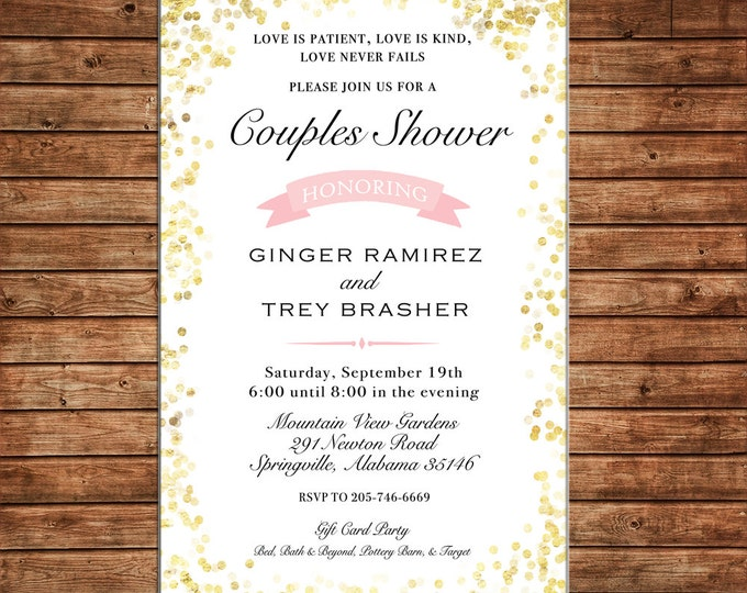 Invitation Glitter Confetti Brunch Baby Shower Wedding Birthday Party - Can personalize colors /wording - Printable File or Printed Cards