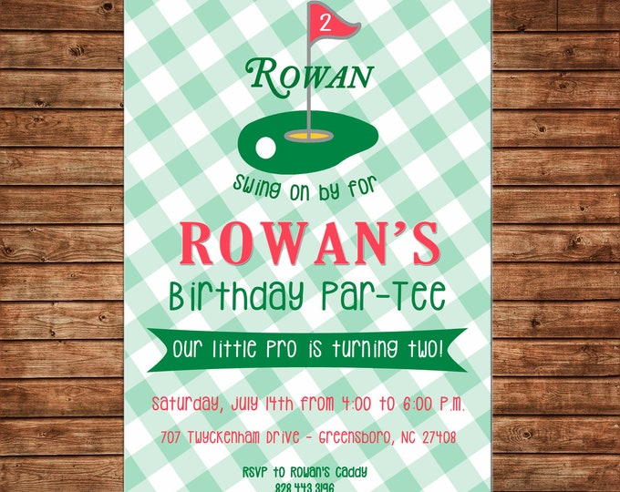 Boy Invitation Putt Putt Miniature Golf Gingham Birthday Party - Can personalize colors /wording - Printable File or Printed Cards