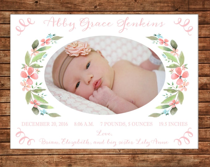 Christmas Holiday Photo Card Watercolor Floral Laurel Wreath - Can Personalize - Printable File or Printed Cards
