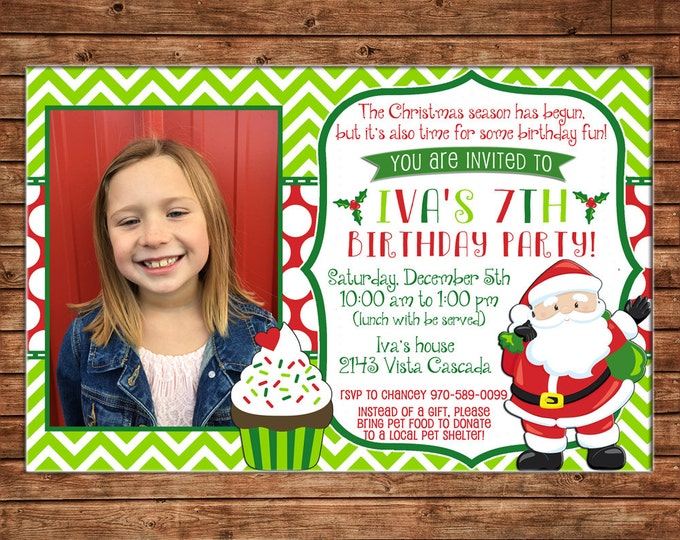 Boy or Girl Photo Invitation Christmas Santa Birthday Party - Can personalize colors /wording - Printable File or Printed Cards