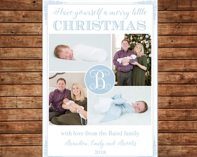 Christmas Holiday Photo Card Merry Little Christmas Baby Blue - Can Personalize - Printable File or Printed Cards