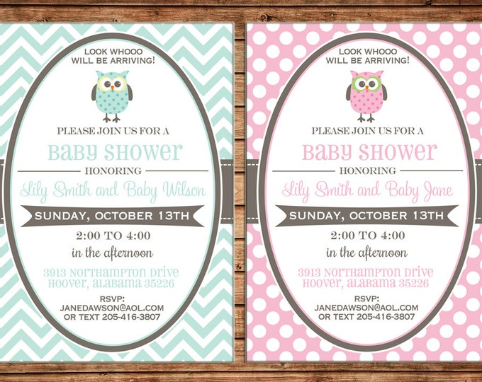 Boy or Girl Invitation Chevron Owl Baby Shower Birthday Party - Can personalize colors /wording - Printable File or Printed Cards