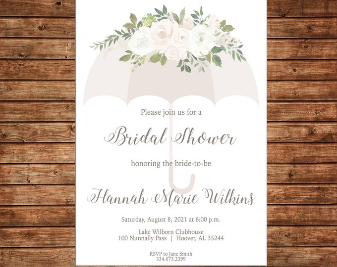 Watercolor Floral Baby Bridal Wedding Sprinkle Umbrella Shower Party - Can personalize colors /wording - Printable File or Printed Cards