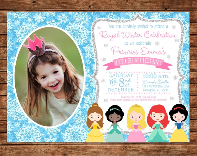 Girl Invitation Winter Princess Birthday Party - Can personalize colors /wording - Printable File or Printed Cards