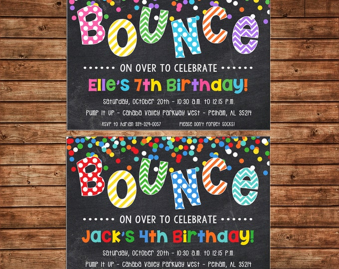Boy or Girl Bounce House Jump Birthday Party - Can personalize colors /wording - Printable File or Printed Cards