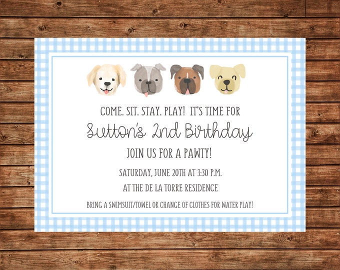 Boy or Girl Invitation Watercolor Puppy Dog Pawty Birthday Party - Can personalize colors /wording - Printable File or Printed Cards