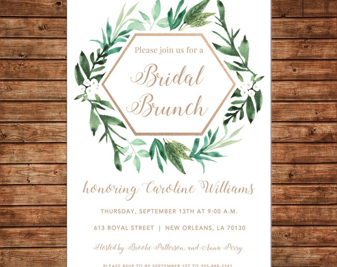 Invitation Watercolor Greenery Rose Gold Bridal Brunch Shower  - Can personalize colors /wording - Printable File or Printed Cards