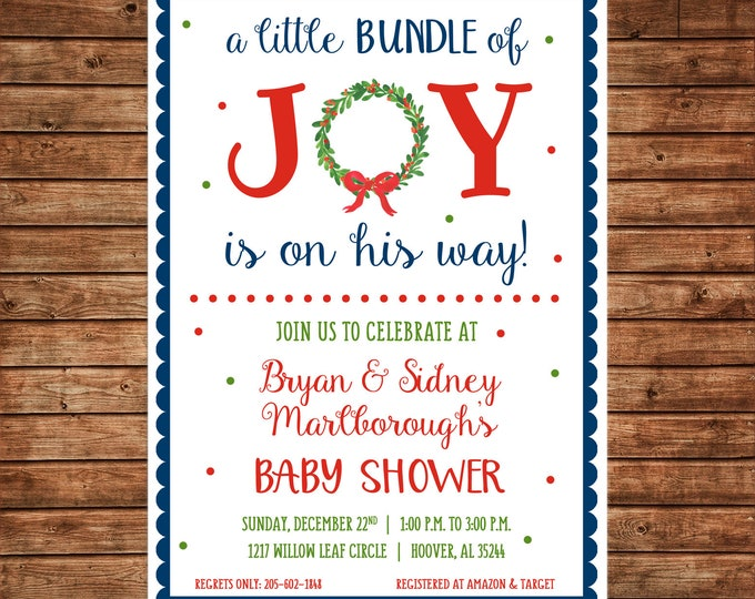Boy or Girl Invitation Bundle of Joy Baby Shower - Can personalize colors /wording - Printable File or Printed Cards