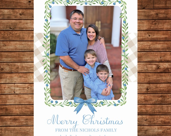 Christmas Holiday Photo Card Baby Blue Watercolor Wreath Buffalo Check - Can Personalize - Printable File or Printed Cards