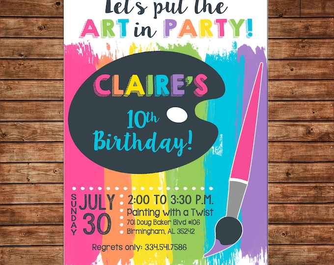 Boy or Girl Invitation Art Artist Pottery Paint Palette Birthday Party - Can personalize colors /wording - Printable File or Printed Cards