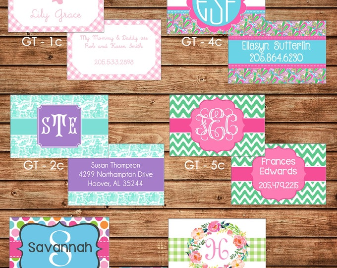 Girl Personalized Luggage Bag Tag with Name, Monogram, Clipart, etc - Design your own - ONE DESIGN