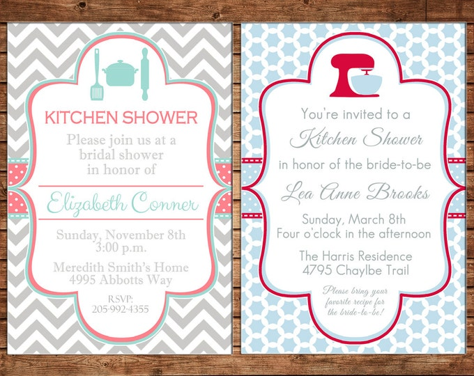 Invitation Kitchen Bridal Shower Wedding Party - Can personalize colors /wording - Printable File or Printed Cards
