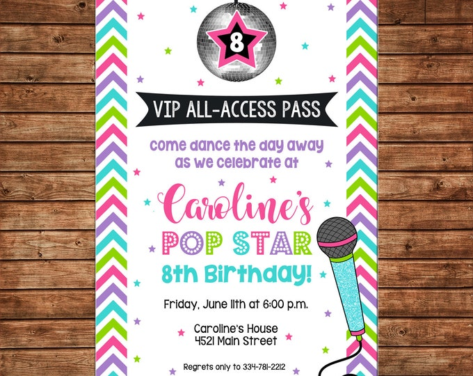 Girl Invitation Dance Disco Ball Popstar Pop Star Birthday Party - Can personalize colors /wording - Printable File or Printed Cards