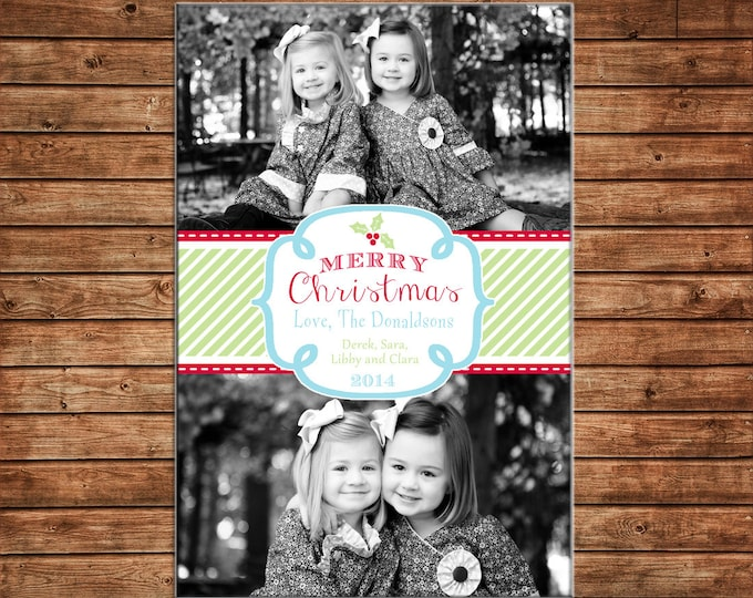 Photo Picture Christmas Holiday Card Ribbon Scallop Whimsical Holly Southern Preppy - Digital File