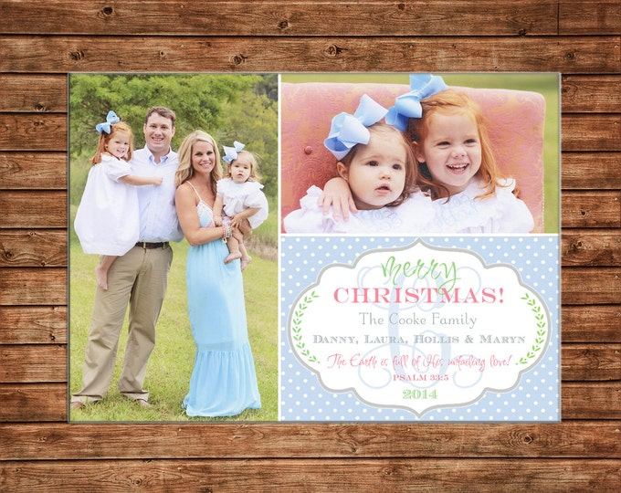 Photo Picture Christmas Holiday Card Elegant Monogram Dot with Scallop Frame - Digital File