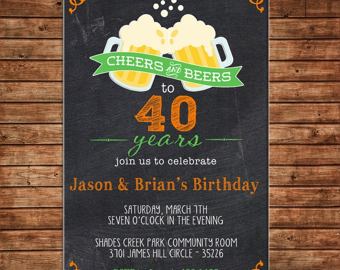 Invitation Cheers Beers Surprise Masculine Birthday Party - Can personalize colors /wording - Printable File or Printed Cards