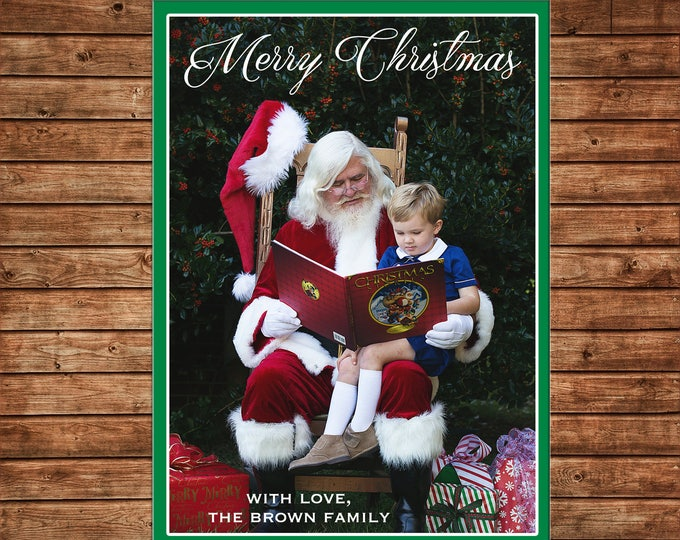 Christmas Holiday Photo Card Santa Elegant Traditional - Can Personalize - Printable File or Printed Cards