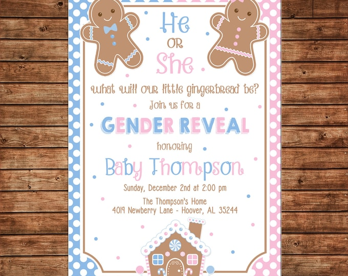 Gingerbread Gender Reveal Baby Shower Invitation  - Can personalize colors /wording - Printable File or Printed Cards