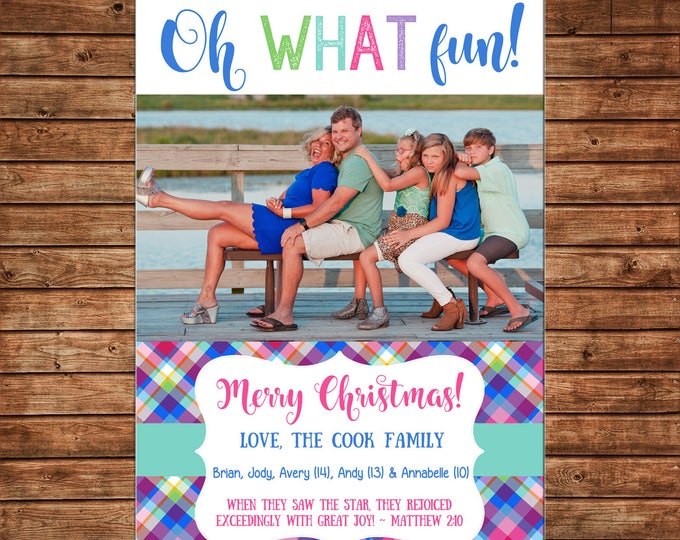 Christmas Holiday Photo Card Whimsical Bright Plaid   - Can Personalize - Printable File or Printed Cards