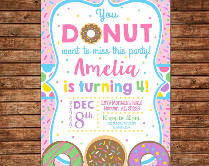 Girl Invitation Donut Donuts Sprinkles Birthday Party - Can personalize colors /wording - Printable File or Printed Cards