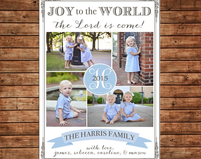 Christmas Holiday Photo Card Joy to the World Elegant Blue Grey - Can Personalize - Printable File or Printed Cards