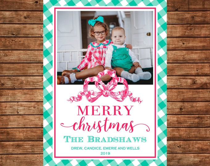 Christmas Holiday Photo Card Pink Green Gingham Preppy - Can Personalize - Printable File