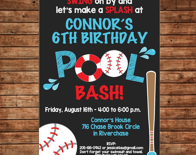 Boy Invitation Baseball Pool Swim Birthday Party - Can personalize colors /wording - Printable File or Printed Cards